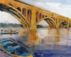 "Key Bridge, Georgetown - 11""  x 14"""